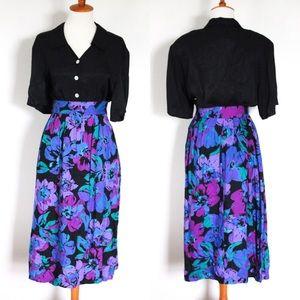 ☾ Vintage floral midi skirt